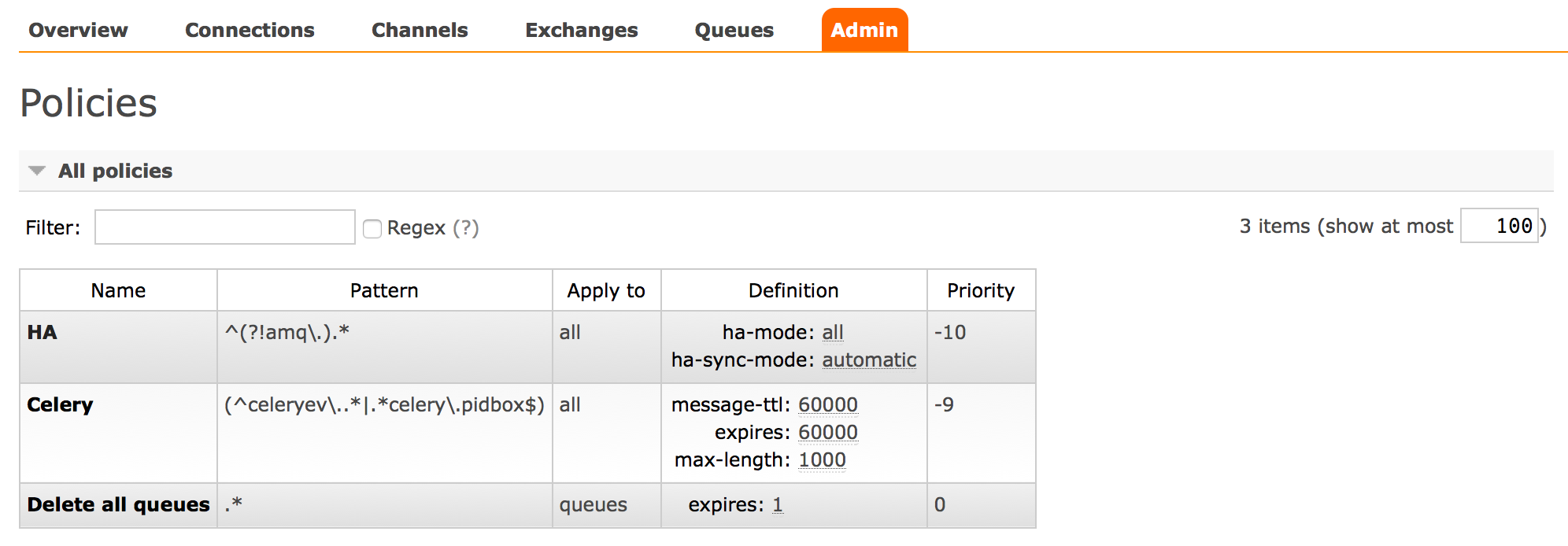 How to delete a single or multiple queues in RabbitMQ